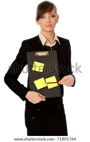 The office worker working in office and holding the document case with stickers in the hands - stock photo