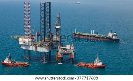 The offshore oil rig in the gulf of Thailand - stock photo
