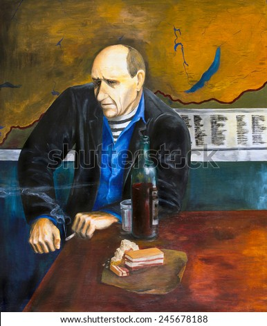 The oil painting. Sailor retired - stock photo