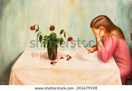 The oil painting. Tragic letter - stock photo