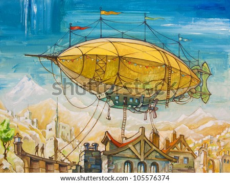 The oil painting with the huge airship flying above the old-style fantasy buildings. My artwork, oil on canvas, 60 x 80 cm. - stock photo