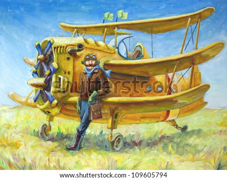 The oil painting (80x60 cm) of the pilot and his fantastic two propeller retro airplane. The brave pilot looks at camera. camera. - stock photo