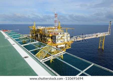 The oil rig in the gulf of Thailand. - stock photo