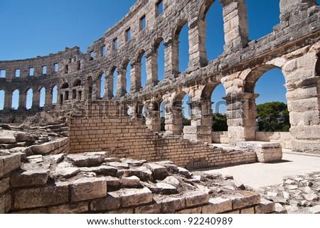 the old amphitheatre in Pula - Croatia - stock photo
