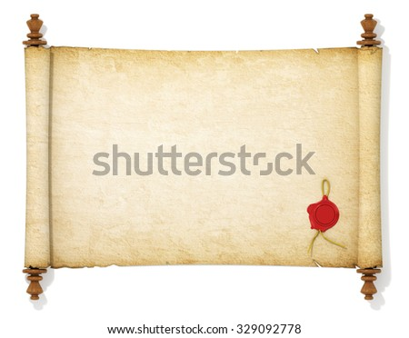 The old and yellowed scroll paper with wax seal. - stock photo