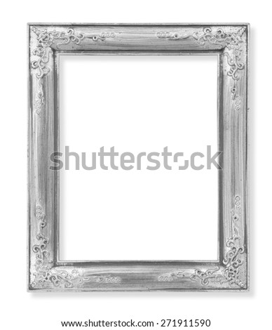 The Old antique silver frame on the white background - stock photo