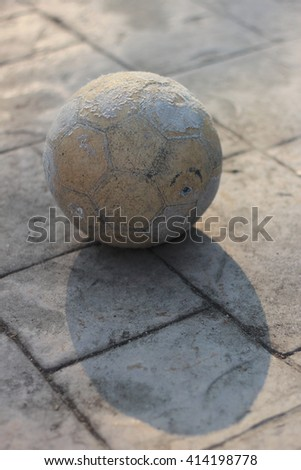 The old ball on the floor. Image some clear.