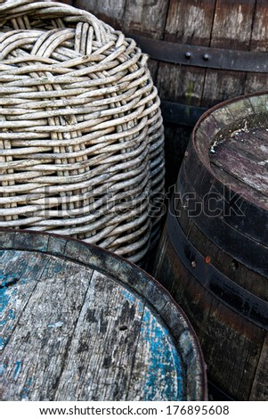 The old barrels - stock photo