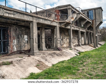 The old battery at Fort Hancock, a World War 2 army base on Sandy Hook along the Jersey shore. - stock photo