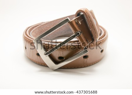 The old belt on white background