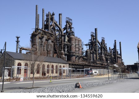 The old Bethlehem Steel factory in Bethlehem, Pennsylvania.   At one time it was the second largest steel manufacturing facility, - stock photo
