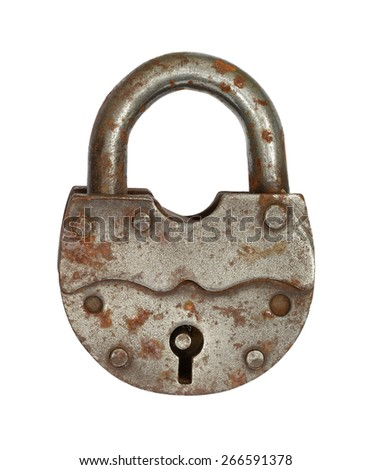 The old big padlock isolated on white background. - stock photo