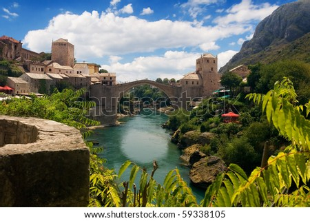 the old bridge in Mostar and river Neretva