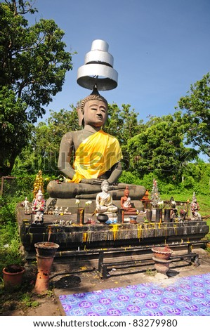 The Old Buddha in Wiang Kum Kam, Wiang Kum Kam is an ancient city located in Chiang Mai, Thailand. - stock photo