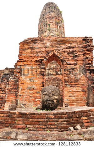The old Buddha statue Head on Ancient temple,Ayutthaya,Thailand