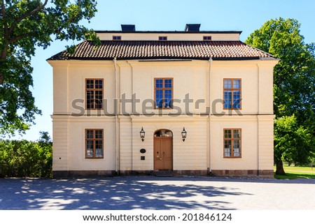 The old building located at Drottningholm Palace in Stockholm, Sweden - stock photo