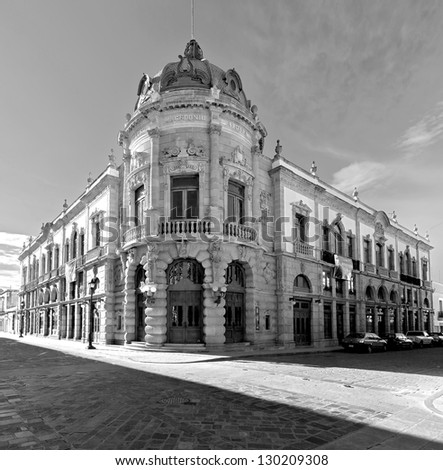 The old building of the Teatro Macedonio Alcala in Oaxaca - Mexico (black and white) - stock photo
