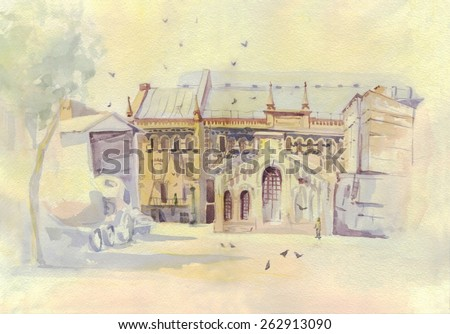 The old building. Painting. Watercolor - stock photo
