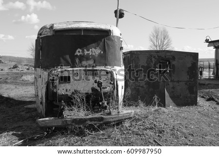 The old bus. abandoned farm