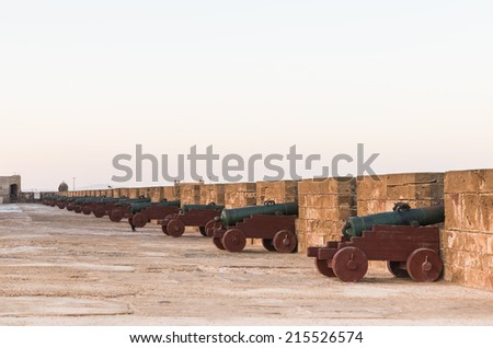 The old cannons on the Skala de le Ville fort in Essaouira, Morocco