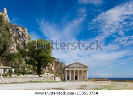 The old castle of Corfu island Greece - stock photo