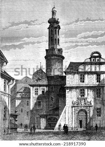 The old castle of Weimar, vintage engraved illustration. Le Tour du Monde, Travel Journal, (1872).  - stock photo