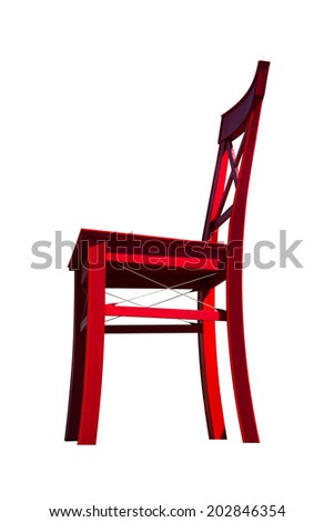 The old chair in red vibrant color