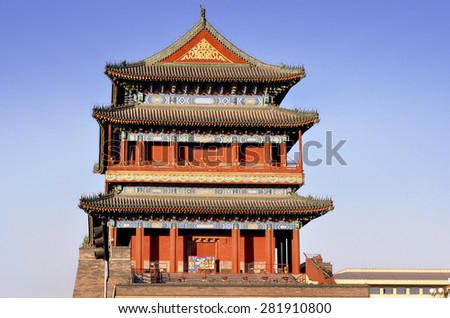 The old chinese pavilion in Beijing - stock photo