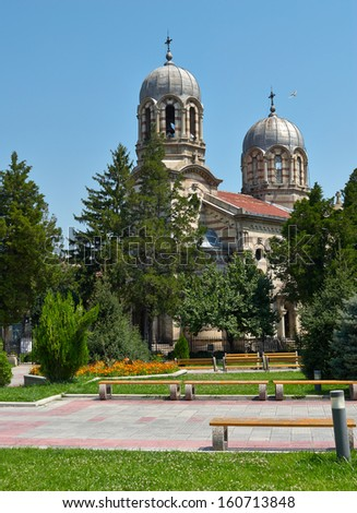 The old church in the centre of Byala town, North Bulgaria - stock photo