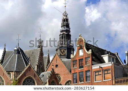 The Old Church (Oude Kerk) in Amsterdam - stock photo