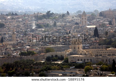 The Old City of Jerusalem on top.