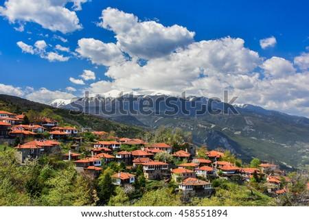 The old city Palaios Panteleiomonas, tourist attraction in Greece. Leptokaria travel destination in east Macedonia. - stock photo