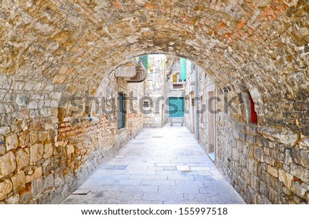 the old city streets in Split downtown, Croatia. - stock photo