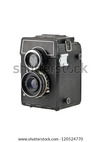 The old classic camera on a white background - stock photo