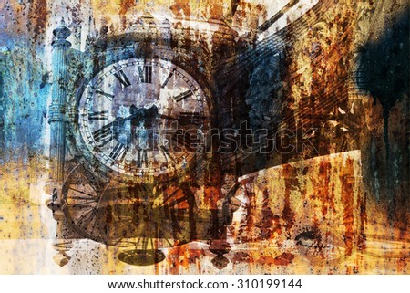 The old clock on the background of rust (double exposure) - stock photo