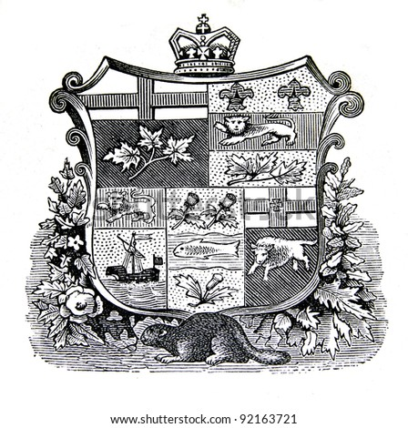 "The old coat of arms of Canada. Engraving by Alwin Zschiesche published on ""Illustrierts Briefmarken Album"", Leipzig, Germany, 1885. - stock photo"