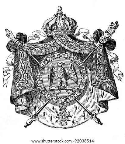"The old coat of arms of French republic. Engraving by Alwin Zschiesche published on ""Illustrierts Briefmarken Album"", Leipzig, Germany, 1885. - stock photo"