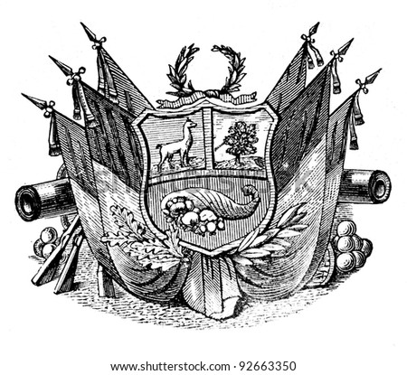 "The old coat of arms of  Republic of Peru. Engraving by Alwin Zschiesche published on ""Illustrierts Briefmarken Album"", Leipzig, Germany, 1885. - stock photo"