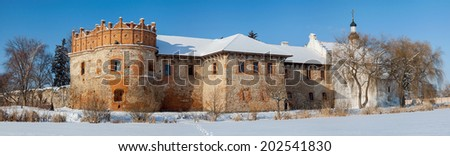 The Old Constantine Castle is a Volhynian castle built at the confluence of the Sluch and Ikopot' rivers by Prince Constantine Ostrogski in the 1560s. - stock photo