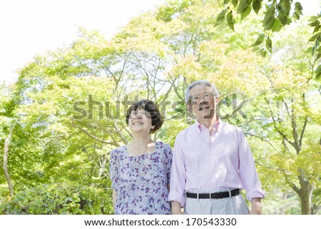 The old couple who smiles - stock photo