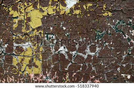 The old cracked brown paint abstract background
