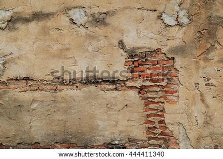 The old cracked wall of the abandoned ruins.