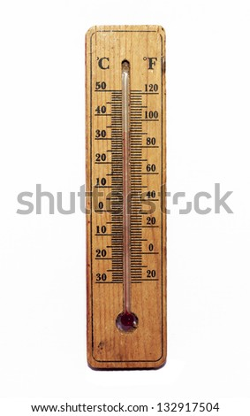 The old design of thermometer on white background.