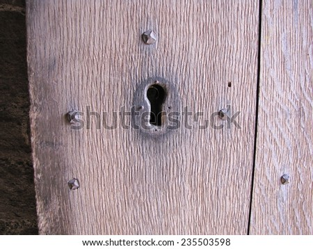 The old door with a key hole