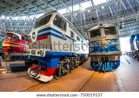 The old electric, diesel locomotive of times of the USSR. Russia Saint-Petersburg. November 02, 2017