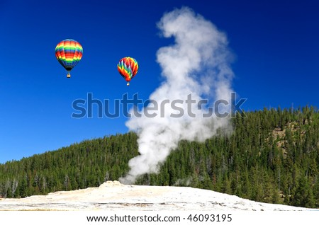 The Old Faithful Geyser in Yellowstone National Park - stock photo