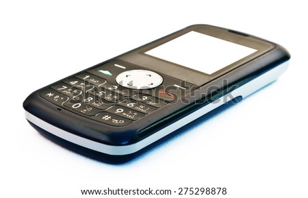 The old fashion of old mobile phone on white