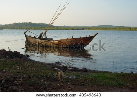 The old fishing boats in Goa, India