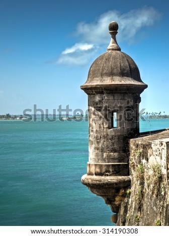 The old fort in San Juan named Castillo San Felipe del Morro, Puerto Rico - stock photo