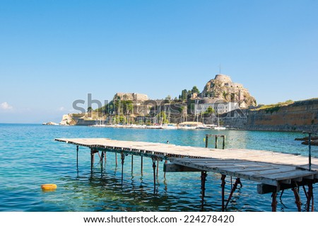 The Old Fortress on the island of Corfu, Greece. - stock photo